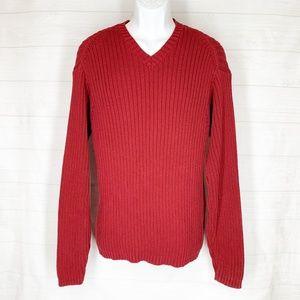 Eddie Bauer Sweater Mens XL Burgundy Cotton
